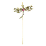 Copper-Tone Crystal Dragonfly Bookmark Gold