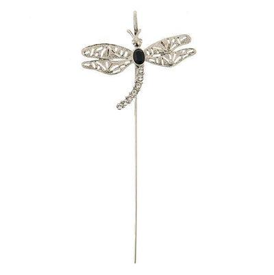 Silver-Tone Black and Crystal Dragonfly Bookmark