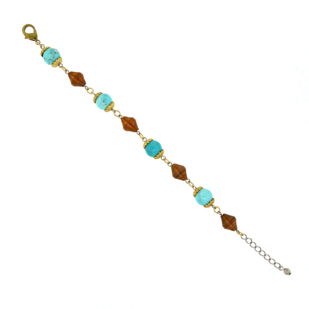 Brass Tone Genuine Howlite Dyed Turq. Copper Beaded Bracelet