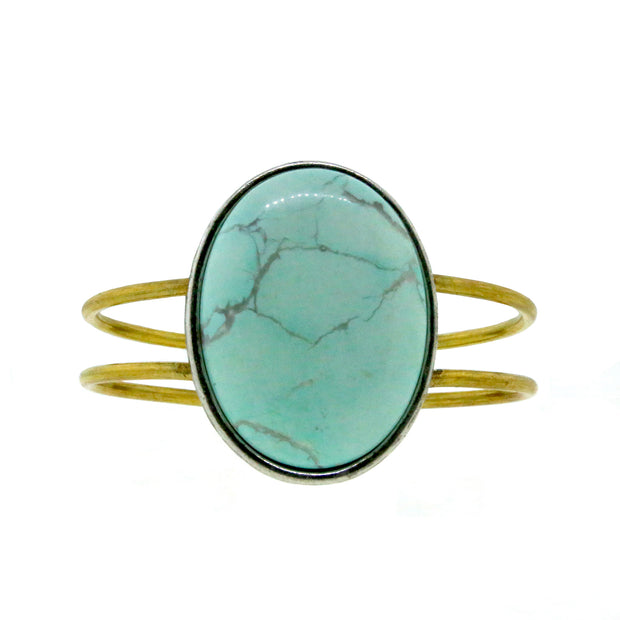 Brass Silvertone Genuine Howlite Dyed Turq. Oval Hinged Bracelet