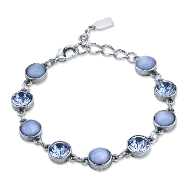 Pewter Tone Lt. Blue Moonstone and Crystal Bracelet