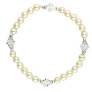Silver Tone  Costume Pearl And Lantern Bead Stretch Bracelet