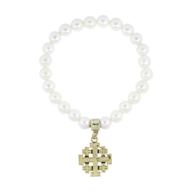 Costume Pearl Stretch Bracelet With 14K Gold Dipped Jeruselum Cross Charm
