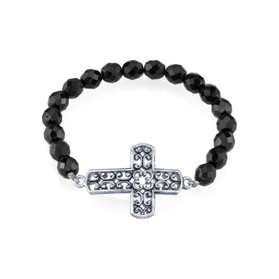 Silver Tone Filigree Cross Black Beaded Stretch Bracelet