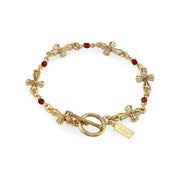 14K Gold Dipped Red Bead Cross Chain Bracelet
