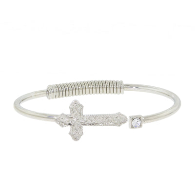 Silver Tone Cross Hinge Bangle Bracelet