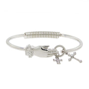 Silver Tone Hand and Cross Charm Hinge Bangle Bracelet