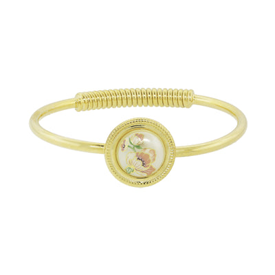 Gold Tone Flower Decal Costume Pearl Hinge Bracelet