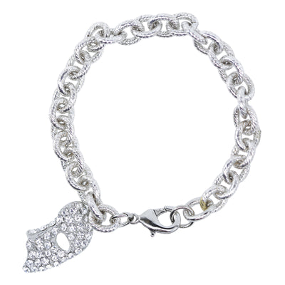 Pewter Crystal Masquerade Mask Charm On Link Bracelet