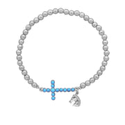 Silver Tone Turquoise Cross Horse Charm Stretch Bracelet