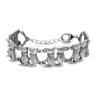 1928 Jewelry Silver Tone Crystal Multi Double Cat Chain Bracelet