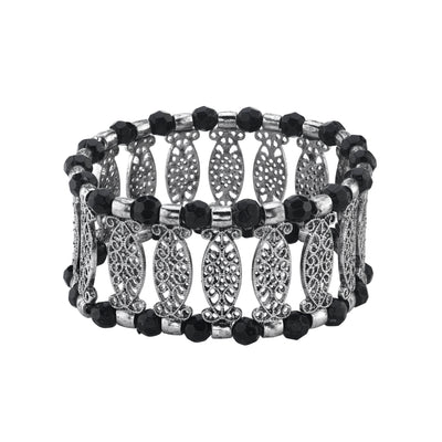 Silver Tone Black Color Filigree Stretch Bracelet