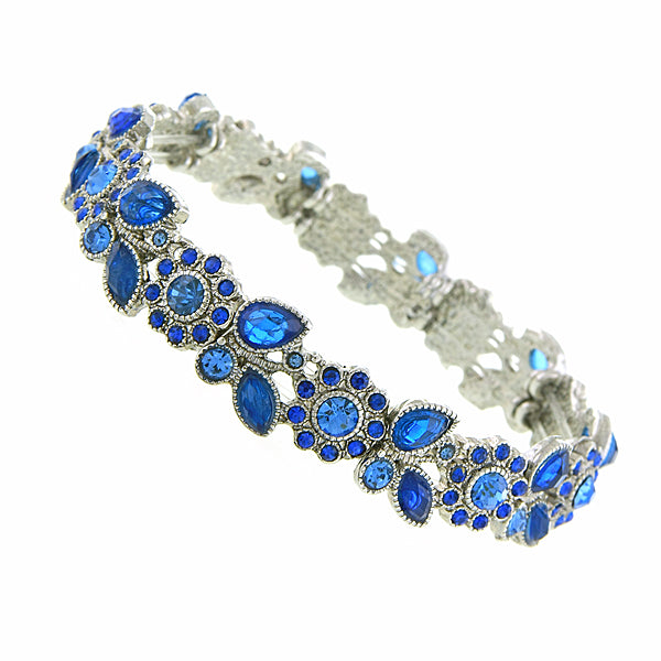 Silver-Tone Sapphire Blue Color Crystal Flower Petal Stretch Bracelet
