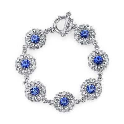 Silver Tone Sapphire Blue Color Crystal Flower Toggle Bracelet