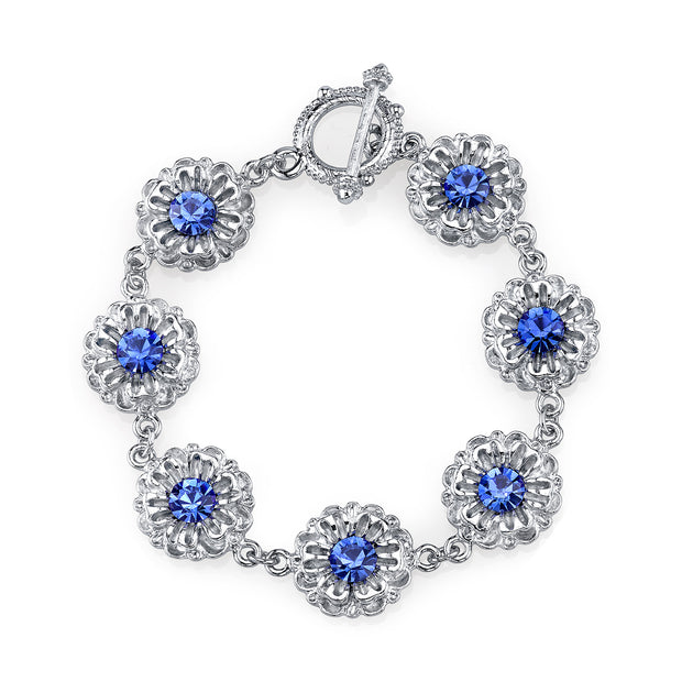 Silver-Tone Sapphire Blue Color Crystal Flower Toggle Bracelet
