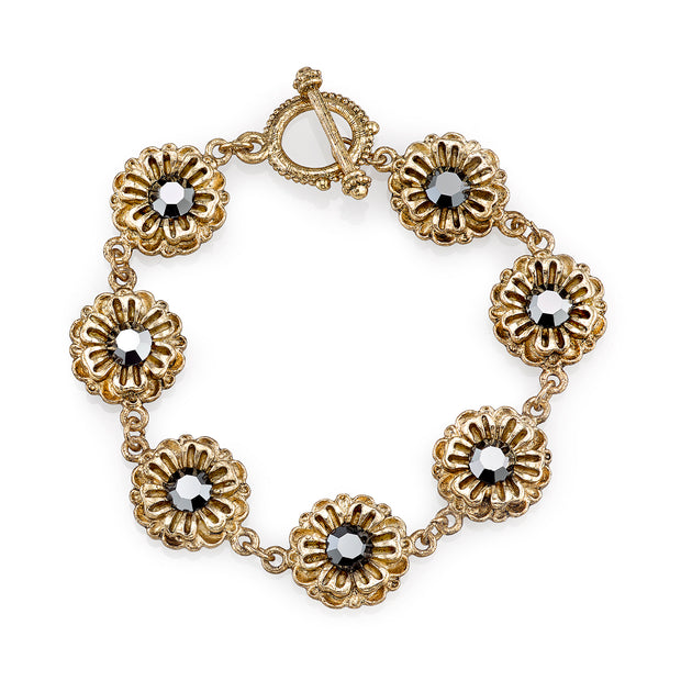 Gold Tone Hematite Color Crystal Flower Toggle Bracelet