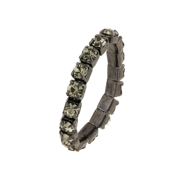 Black Tone Jet Black Crystal Stretch Ring