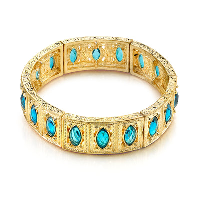 Gold Tone Aqua Blue Navette Stretch Bracelet