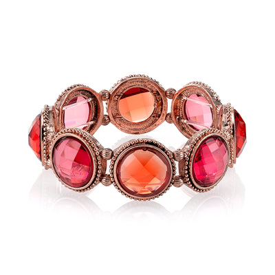Copper Tone Orange And Raspberry Color Faceted Stretch Bracelet