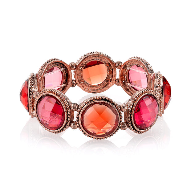 Copper-Tone Orange And Raspberry Color Faceted Stretch Bracelet