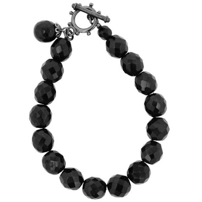 Black Beaded Toggle Stretch Bracelet