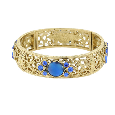 Gold-Tone Blue Genuine Mother Of Pearl And Blue Crystal Accent Stretch Bracelet