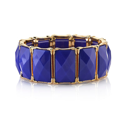 Gold-Tone Blue Rectangle Stretch Bracelet