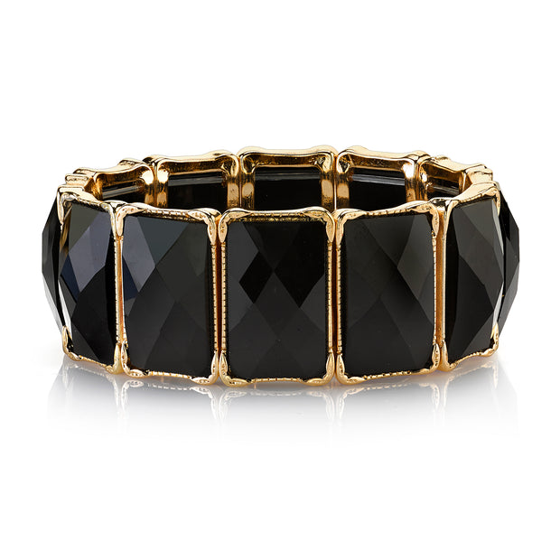 2028 Jewelry Antique Style Gold-Tone Faceted Rectangle Stretch Bracelet
