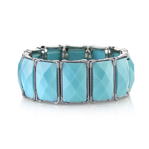 Silver-Tone Turquoise Blue Color Rectangle Stretch Bracelet