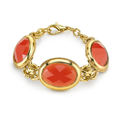 Gold-Tone Orange Faceted Bracelet