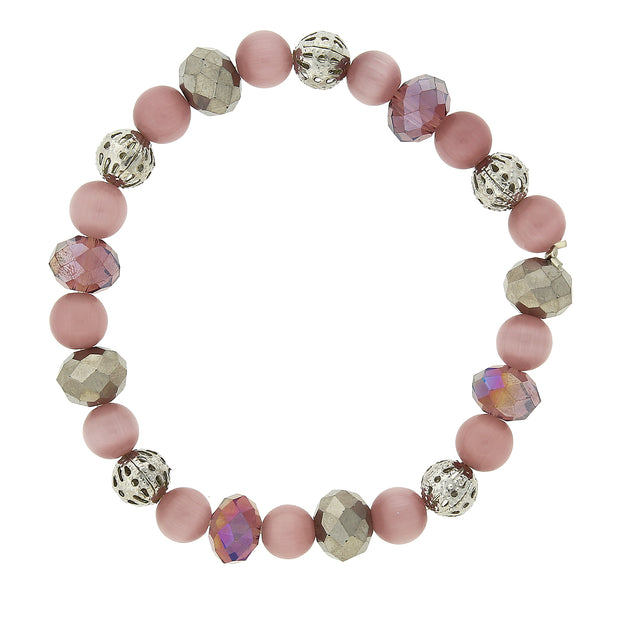 Silver-Tone Lt Purple Cats Eye Stretch Bracelet