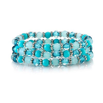 Silver-Tone Turquoise Blue Color Beaded Stretch Bracelet