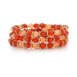Gold-Tone Orange Beaded Stretch Bracelet
