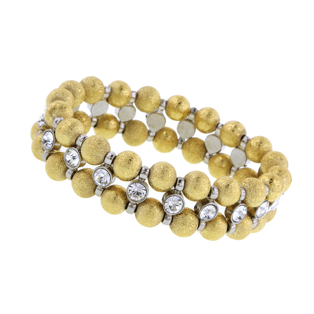 Gold Tone Brushed Ball With Crystal Stretch Bracelet