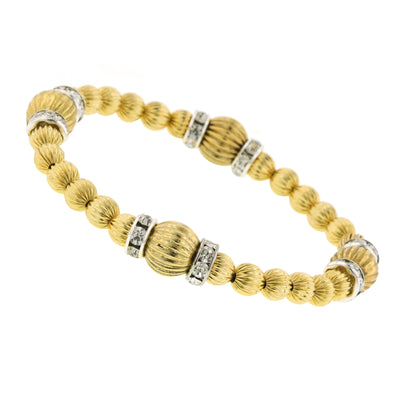 Gold-Tone Gold Textured and Crystal Rondell Stretch Bracelet