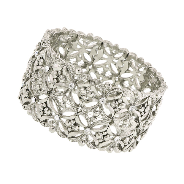 Silver Tone Filigree Wide Stretch Bracelet