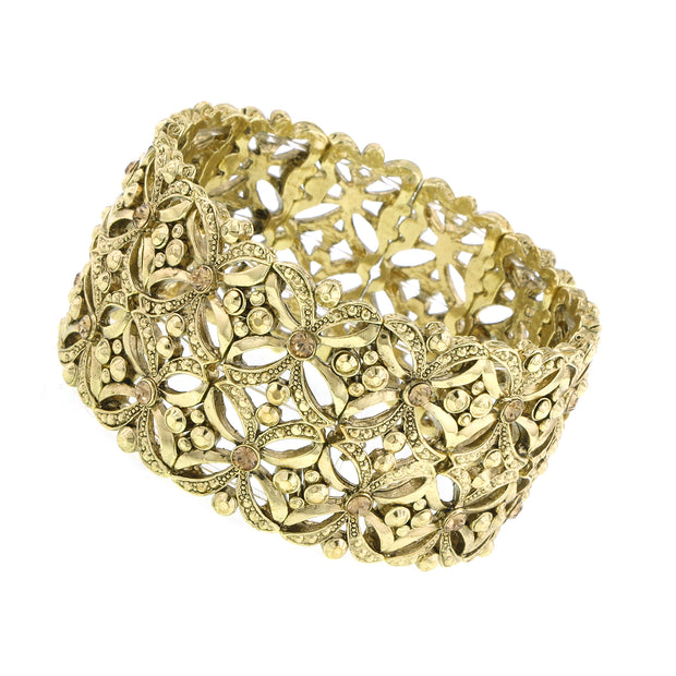 Gold Tone Crystal Filigree Wide Stretch Bracelet