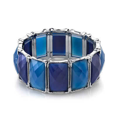 Silver-Tone Sapphire Blue Color Rectangle Stretch Bracelet