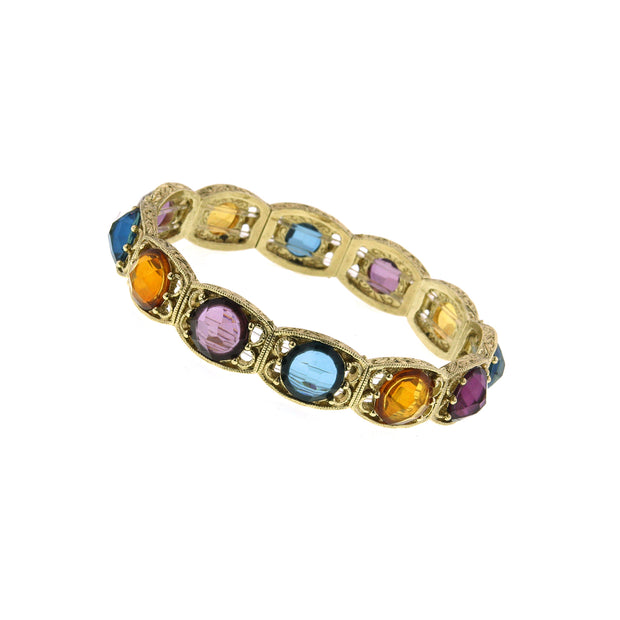 2028 Gold-Tone Round Transparent Multi-Color Crystal Stretch Bracelet