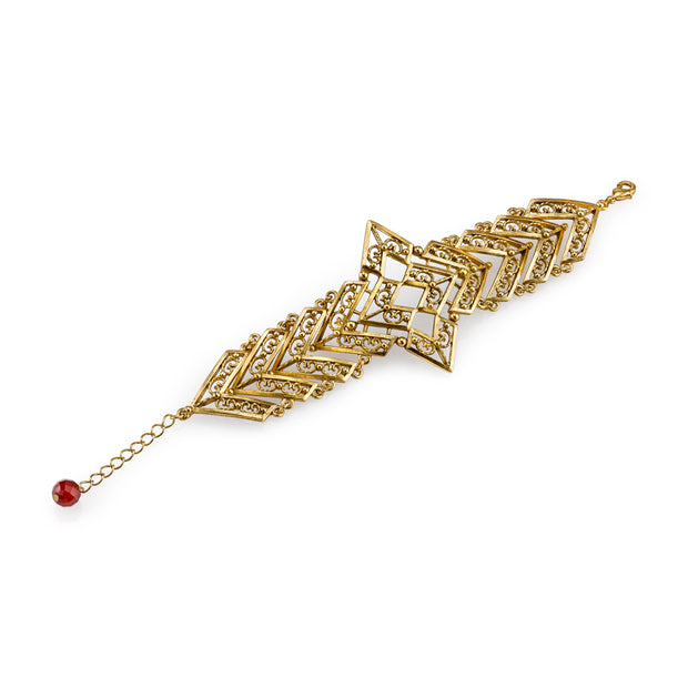 Matte14K Gold-Dipped Filigree Chevron with Gemstone Carnelian Bracelet