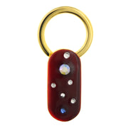Gold Tone Enamel Crystal Medley Oblong Key Ring