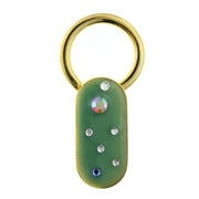 Gold Tone Enamel with Multicolor Crystals Oblong Key Fob Green