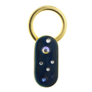 Gold Tone Enamel with Multicolor Crystals Oblong Key Fob Blue
