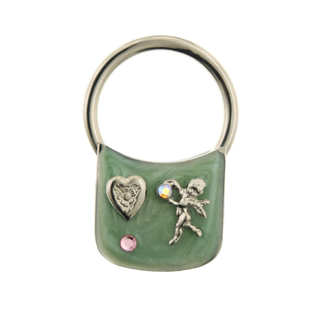Silver Tone Enamel With Heart And Angel Ab Crystal Key Fob