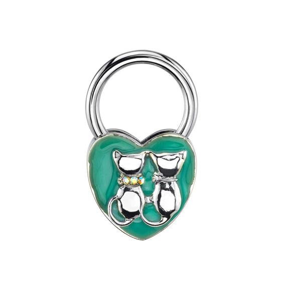 Silver-Tone Enamel and Crystal Cats Heart Key Fob