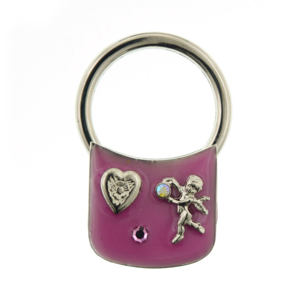 Silver-Tone Enamel with Heart and Angel Crystal Key Fob