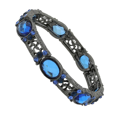 Black-Tone Blue And Light Sapphire Color Crystal Stretch Bracelet