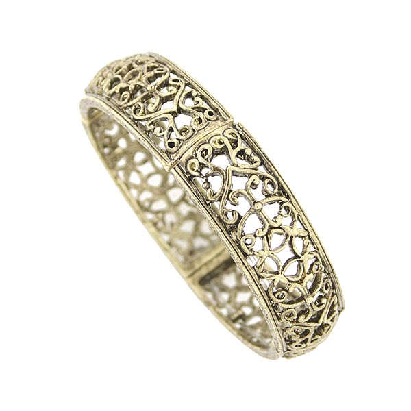 Gold-Tone Filigree Stretch Bracelet