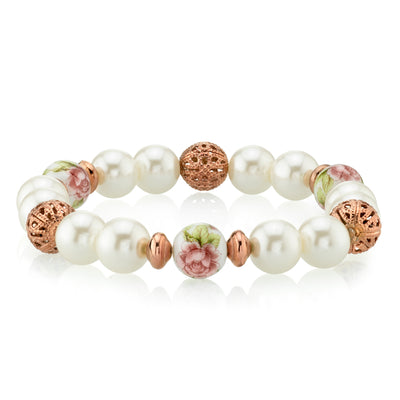 Rose Gold Tone Costume Pearl Purple Flower Filigree Beaded Stretch Bracelet