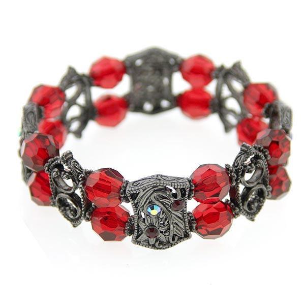 Black Tone Red Bead And Ab Stretch Crystal Bracelet